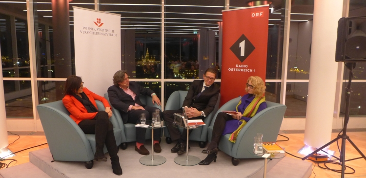 "City Science Talk on the issue ""You are what you eat"". Involved in the discussion (from left to right) were nutritionist Ingrid Kiefer, cultural scientist Peter Peter, gastroenterologist Ludwig Kramer and Ö1-journalist Elisabeth J. Nöstlinger. © Radio Österreich 1"