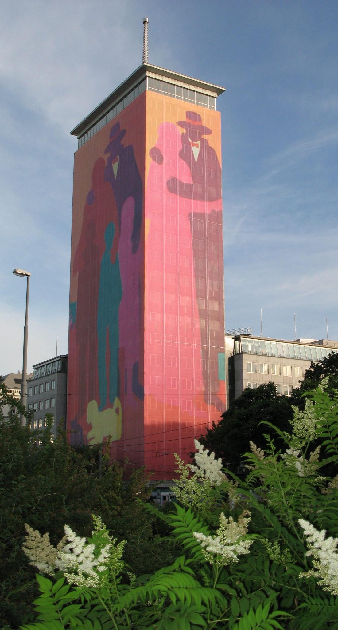 """Ringturmverhüllung 2007: """"Turm des Lebens"""" von Robert Hammerstiel. © Wiener Städtische/Ernst Greindl"""