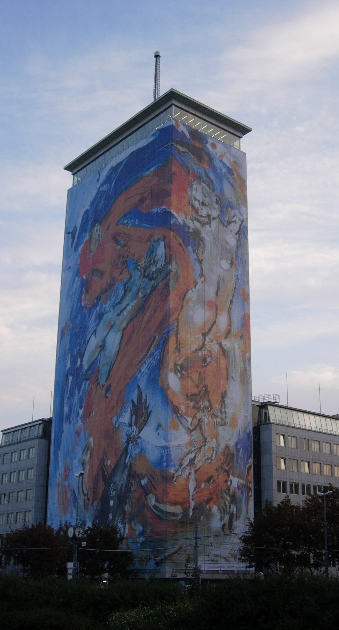 """Ringturmverhüllung 2006: Christian Ludwig Attersee mit """"Don Giovanni"""" © Wiener Städtische Versicherung"""