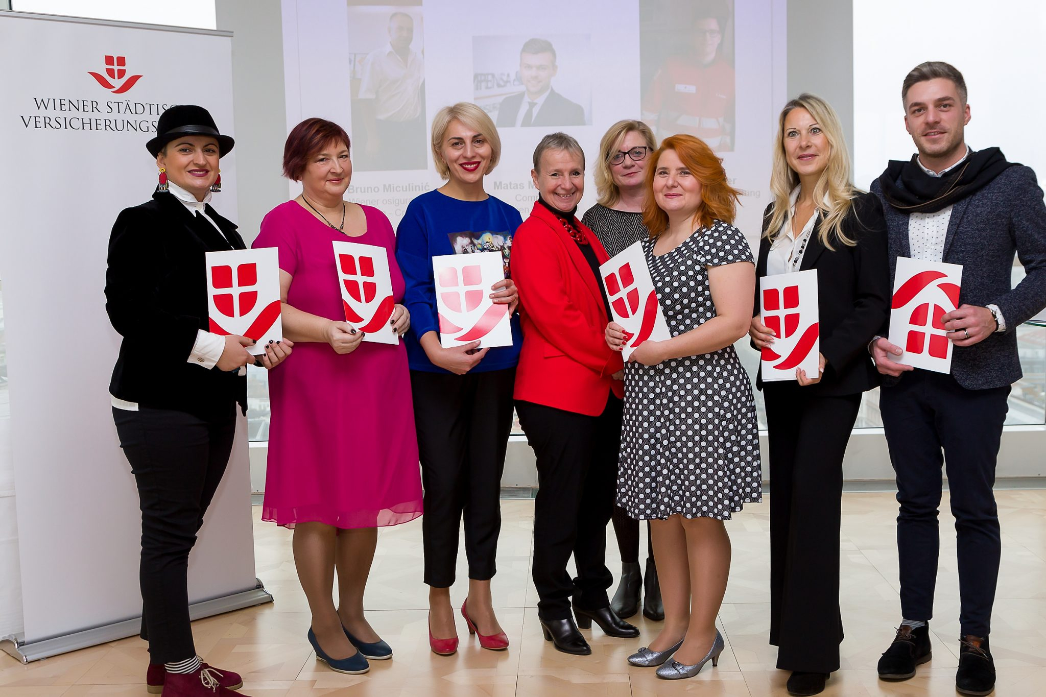 On the picture (from left to right): Nino Sabakhtarishvili (Georgia), Daiva Pikūnienė (Lithuania), Nino Kochishvili (Georgia), Helene Kanta (Member of the Managing Board of Wiener Städtische Versicherungsverein), Barbara Grötschnig (Head of VIG Group Sponsoring), Veronika Stránská (Czech Republic), Martina Christidis (Austria) &  Nika Katcharava (Georgia) © Ludwig Schedl