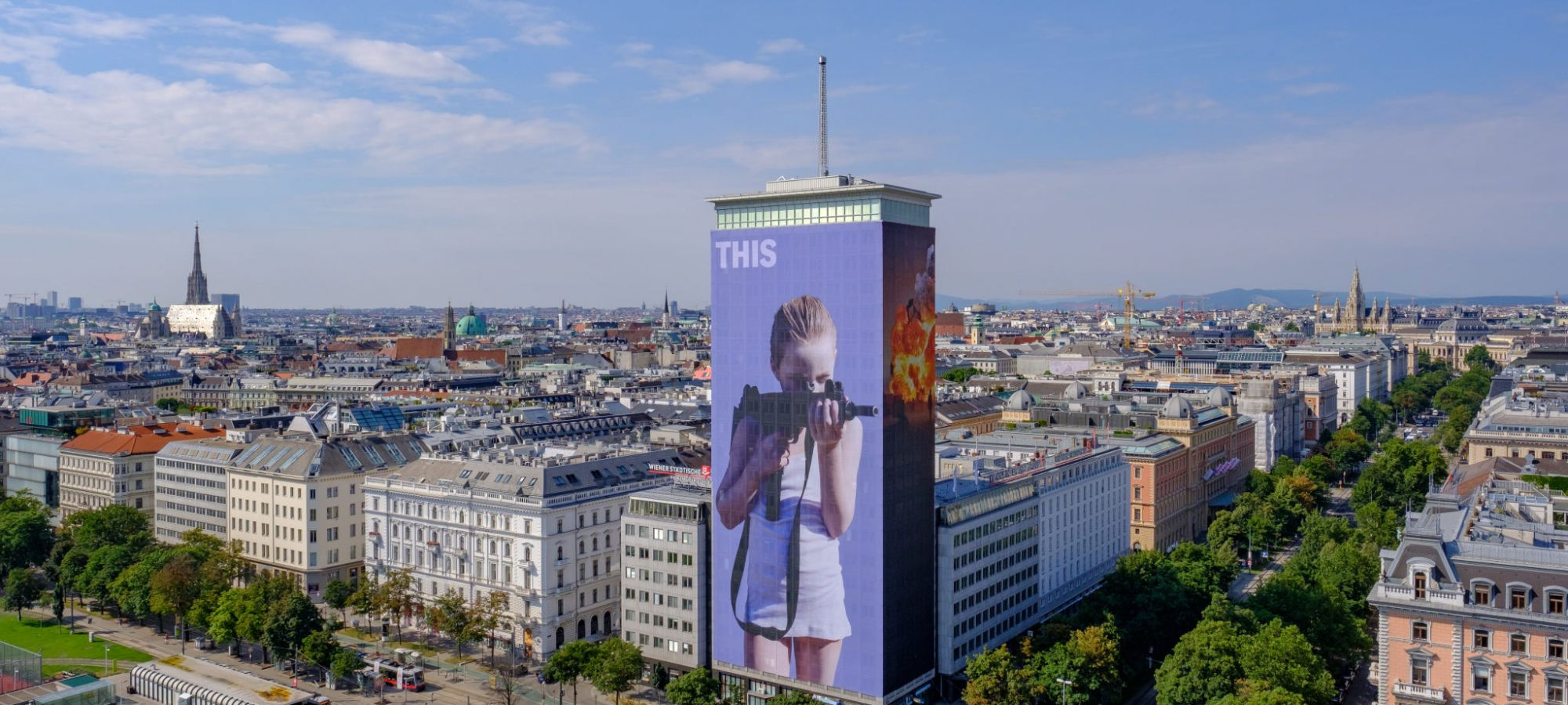 Artistic Wrapping of the Ringturm 2018