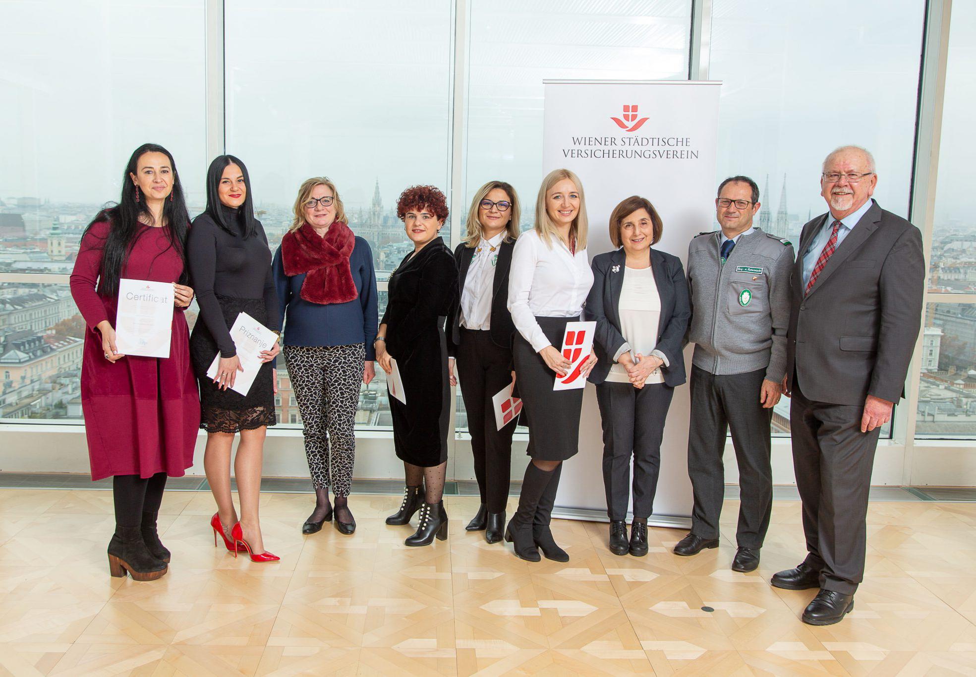 On the picture (from left to right): Simona Otilia Tatu (Romania), Maja Jurinec (Croatia), Barbara Grötschnig (head of VIG Group Sponsoring), Nata Mestumrishvili & Shorena Miminoshvili from Georgia, Karolina Karpova (Lithuania), Ina Berulava (Georgia), Robert Kallinger (Austria) & Hans Raumauf (member of the Wiener Städtische Versicherungsverein Management Board) © Richard Tanzer